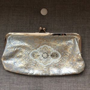 🆕 LOFT Leather Metallic Clutch